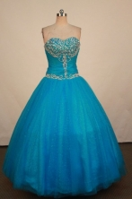 Romantic Ball Gown Sweetheart Neck Floor-Lengtrh Blue Beading and Appliques Quinceanera Dresses Style FA-S-199