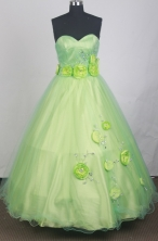 Romantic Ball Gown Sweetheart Neck Floor-length Spring Green Quinceanera Dress LZ426037