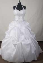 Simple Ball Gown Halter Floor-length White Quinceanera Dress LJ2639