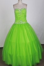 Simple Ball Gown Strapless Floor-length Green Quinceanera Dress X0426070