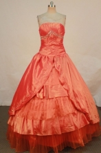 Simple Ball Gown Strapless Floor-length Quinceanera Dresses  Beading Style FA-Z-0195