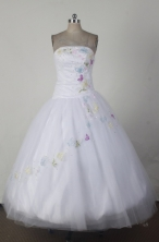 Simple Ball Gown Strapless Floor-length White Quincenera Dresses TD260045