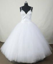 Sweet Ball Gown Strap Floor-length White Organza Beading Quinceanera dress Style FA-L-125