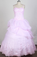 Sweet Ball Gown Straps Floor-length Pink Quincenera Dresses TD260061