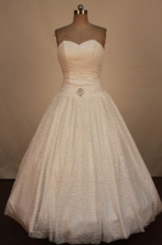Sweet Ball Gown Sweetheart Neck Floor-Length White Beading Quinceanera Dresses Style FA-S-254
