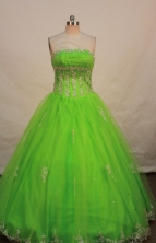 Wonderful ball gown strapless floor-length appliques spring green quinceanera dresses FA-X-038