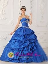 Blue A-Line Sapphire Appliques and Beading Decorate Gorgeous Quinceanera Dress For  Formal in Cuscatancingo   El Salvador Style QDZY157FOR
