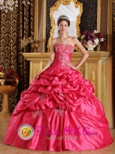 Hot Pink Quinceanera Dress  Floor-length Ball Gown Appliques Embroidery And Pick-ups Decorate in La Palma El Salvador  Style QDZY189FOR