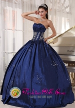 2013 Navy blue Quinceanera Dress Embroidery and Beading Taffeta Ball Gown for Graduation in La Unian   El Salvador  Style PDZY522FOR