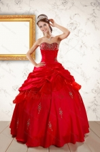 2015 Beautiful Beading Sweetheart Red Quinceanera Dresses XFNAO217FOR