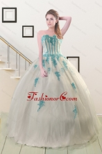 2015 Cheap Appliques Quinceanera Dresses in White XFNAO816FOR