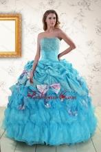 2015 Cheap Aqua Blue Appliques Quinceanera Dresses with Appliques XFNAO747FOR