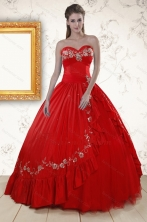2015 Cheap Sweetheart Red Puffy Quinceanera Dresses with Embroidery XFNAO273FOR