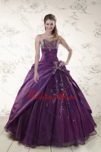 2015 Modern Purple Sweetheart Appliques Quinceanera Dresses XFNAO183FOR