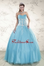 2015 Pretty Aqua Blue Quinceanera Dresses with Beading and Appliques XFNAO5977-3FOR