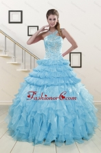 2015 Pretty Baby Blue Sweet 15 Dresses with Beading XFNAO254FOR