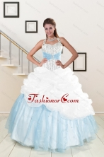 2015 White and Blue Ball Gown Quinceanera Dress with Halter XFNAO085FOR