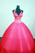Affordable Ball Gown Halter Top Neck Floor-Length Hot Pink Beading Quinceanera Dresses Style FA-S-159