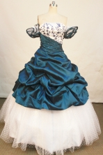 Affordable Ball Gown Off The Shoulder Neckline Floor-Length Blue Beading and Appliques Quinceanera Dresses Style FA-S-179