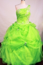 Affordable Ball Gown One Shoulder Neck Floor-Length Spring Green Appliques and Beadnig Quinceanera Dresses Style FA-S-193
