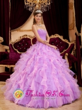 Beading Inexpensive Ruffles Lavender  For  2013 Spring Ball Gown Quinceanera Dress IN Acajutla  El Salvador Style QDZY160FOR