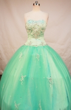 Beautiful Ball Gown Strapless Floor-Length Spring Green Appliques and Beading Quinceanera Dresses Style FA-S-145