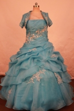 Beautiful Ball Gown Strapless Floor-length Quinceanera Dresses Appliques Style FA-Z-0326