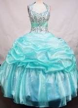 Brand New Ball Gown Halter Top Neck Floor-Length Light Blue Beading Quinceanera Dresses Style FA-S-137