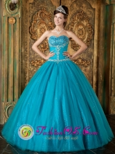 Brand New Teal and Sweetheart Beading Appliques Paillette For 2013 Quinceanera in Antiguo Cuscatlan  El Salvador  Style QDZY065FOR