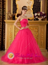 Custom Made Hot Pink A-line Strapless Quinceanera Dress With Beading Tulle Skirt  in Ahuachapan    El Salvador  Style QDZY120FOR