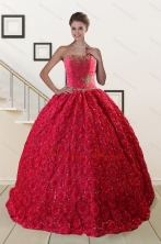 Customize Rolling Flower Beading 2015 Quinceanera Dresses in Coral Red XFNAO812FOR