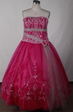 Cute Ball Gown Strapless Floor-length Red Quinceanera Dress LJ2634