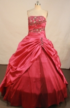 Elegant A-line Strapless Floor-length Embroidery Red Taffeta Quinceanera Dress Style FA-S-184