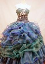 Elegant Ball Gown Sweetheart Neck Floor-Length Orangza Blue Beading and Appliques Quinceanera Dresses Style FA-S-138