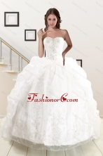 Exquisite Appliques White Brush Train Quinceanera Dresses with Appliques and Pick Ups XFNAO5851FOR