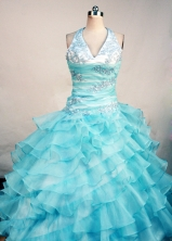 Exquisite Ball Gown Halter Top Neck Floor-Length Baby Blue Appliques and Beadnig Quinceanera Dresses Style FA-S-195