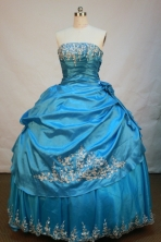 Exquisite Ball Gown Strapless Floor-Length Aqua Blue Beading and Appliques Quinceanera Dresses Style FA-S-177