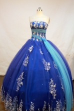 Exquisite Ball Gown Strapless Floor-Length Blue Beading and Applqiues Quinceanera Dresses Style FA-S-149