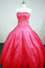 Exquisite Ball Gown Strapless Floor-Length Hot Pink Beading and Appiques Quinceanera Dresses Style FA-S-154