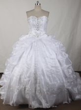 Exquisite Ball Gown Strapless Floor-length White Quinceanera Dress LJ2633