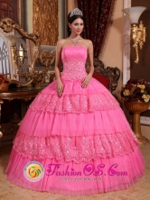 Fall Stylish Rose Pink Ruffles Layered Sweet 16 Ball Gown Dresse With Strapless Organza Lace Appliques in Soyapango   El Salvador  Style QDZY586FOR