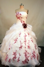 Fashionable Ball Gown Strapless Floor-Length White Appliques Quinceanera Dresses Style FA-S-167