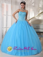 For Sweet 16 Sky Blue Sweetheart Beaded Decorate Bodice Tule Quinceanera Dress  in San Martin    El Salvador  Style PDZY690FOR