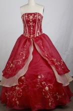 Gorgeous Ball Gown Strapless Floor-length Red Quinceanera Dress LZ426007