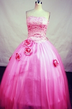 Lovely Ball Gown Strapless Floor-Length Hot Pink Beading and Appliques Quinceanera Dresses Style FA-S-182