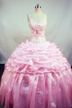 Lovely Ball Gown Straps Floor-Length Baby Pink Beading and Appliques Quinceanera Dresses Style FA-S-164