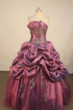 Luxurious Ball Gown Strapless Floor-Length Burgundy Beading and Appliques Quinceanera Dresses Style FA-S-186