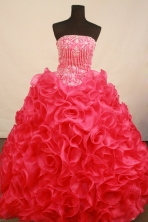 Luxurious Ball Gown Strapless Floor-Length Hot Pink Appliques and Beadnig Quinceanera Dresses Style FA-S-192