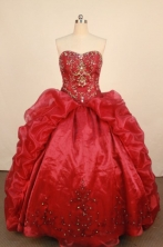 Luxurious Ball Gown Strapless Floor-Length Red Quinceanera Dresses Style FA-S-125
