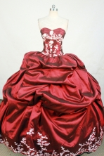 Luxurious Ball Gown Strapless Floor-Length wine Red Beading and Appiques Quinceanera Dresses Style FA-S-158